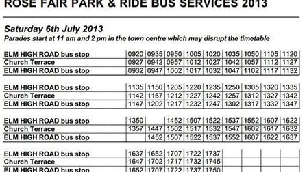 A park and ride service will operate from Elm High Road to Church Terrace on Saturday, July 6.