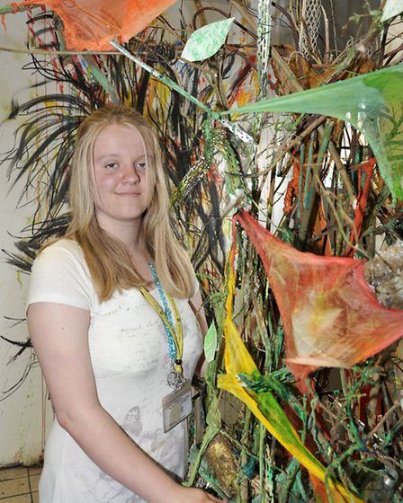 Preview for art exhibition at College of West Anglia Isle Campus, Wisbech. Lynsey French with her Tr