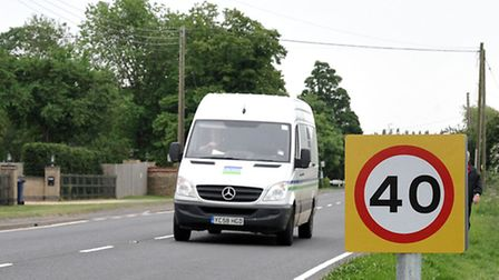The speed limit along the A141 through Westry has been reduced to 40mph. Two small repeater signs we