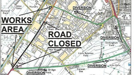 Map produced by Cambs County Council of Cromwell Road closure, Wisbech, and proposed diversion