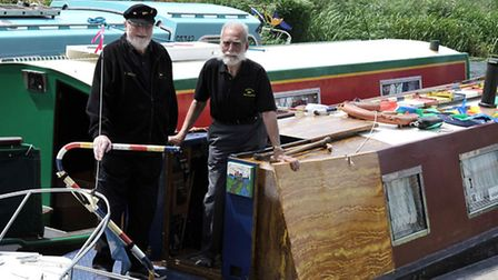 Opening of the refurbished bridge at Benwick. Left: Bill Barry commodore of the middle level waterma