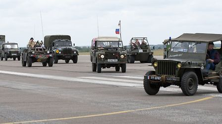 Military vehicles on display at Duxford