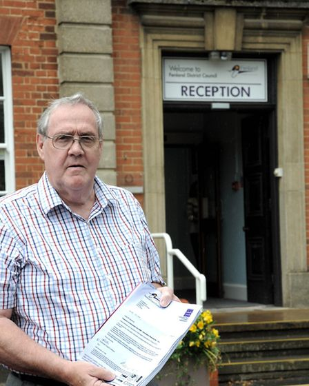 Viv Salisbury outside Fenland Hall.One of many visits/protests he had made to Fenland Council over t