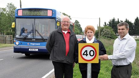 Counciillors, from left, Kit Owen, Jan French and Rob Skoulding say the signs are not large enough.