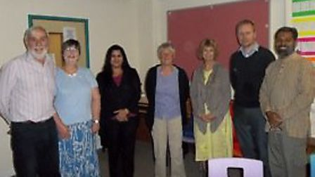 Community figures gather at Wisbech's Interfaith Forum. (From left to right) Sean Finlay, Anne Li