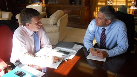 MP Steve Barclay meeting Waterways Minister Richard Benyon at the Department for Environment, Food a
