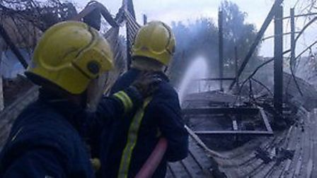 Firefighters tackle the blaze in Witchford
