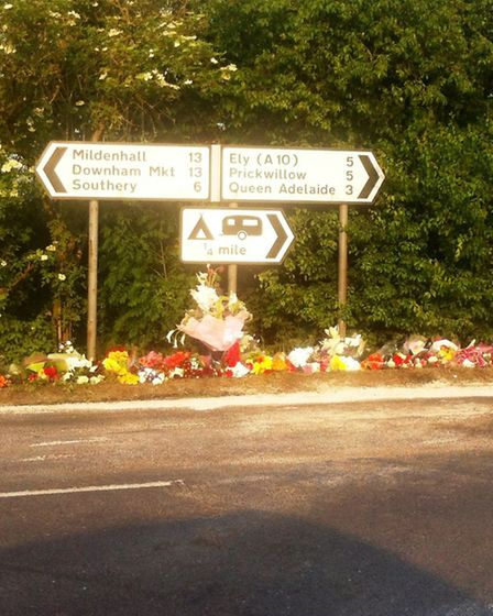 Tributes have been placed at the spot where Jack Ure was killed in an accident at Littleport