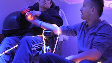 Launch of new sensory room at Mencap March. Left: Lawrence Woolsey, Neil Mitchell.