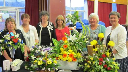 Ely Flower Club annual show. Grace Bent with the winners of the competition.