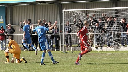 Jackson peels away after scoring against Brantham athletic. Picture: Steve Williams.