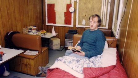 Peter Hawes in the mobile cafe which has been his home for 6 months. Date: Nov 1993