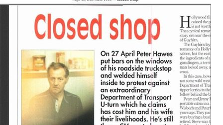 Commercial Motor magazine's report of Peter Hawes' protest from June 24 1993