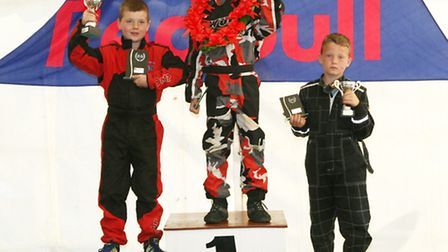 The podium in the 70cc class: 1. Frankie Wright, 2. Jack Rolfe, 3.Ben Clark