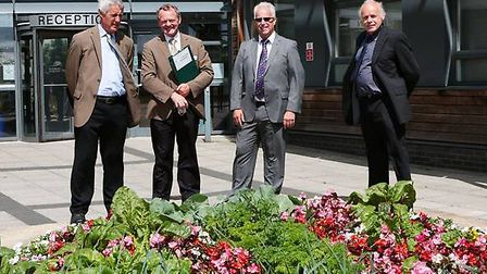 (From left - right) RHS judges Jim Goodwin and Ray Beckwith with Fenland's District Council's Parks
