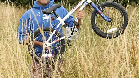 Neil Wilson at the BMX track in Wigstone park March, that is overgrown.