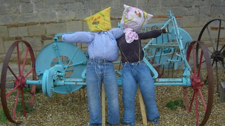 Scarecrows to protect the crops at Denny Abbey