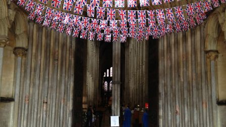 Bunting in the Gallilee Porch to wlcome the new royal baby.
