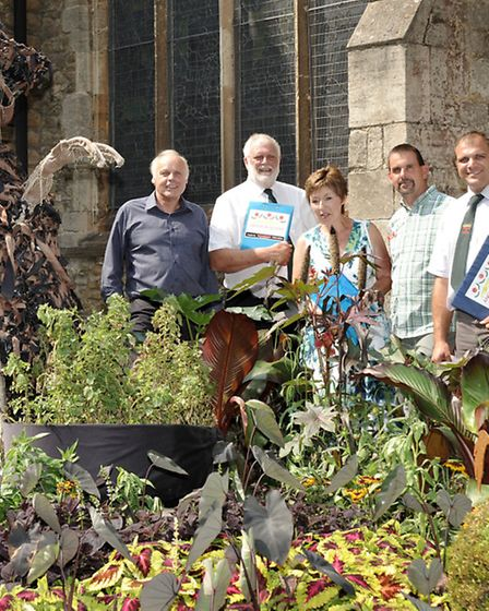 Anglia in Bloom judging at St Peter's Church Gardens, Wisbech. Left: Brian Massingham, Brian Gardner