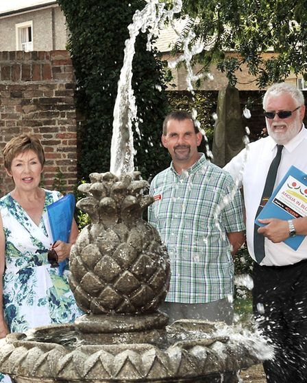 Anglia in Bloom judging at St Peter's Church Gardens, Wisbech. Penny Stocks, Tim Gellis and Brian Ga