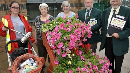 Anglia in Bloom judging at the Oasis Centre, Wisbech. Left: Heather Thirwell, Pauline Fusher, Chris