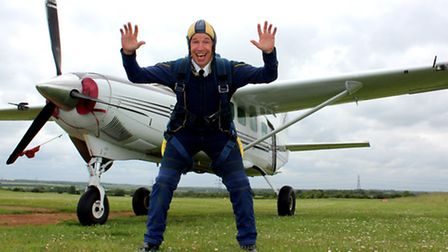 Chatteris fire station commander Richard Dykes prepares for his freefall skydive