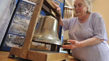 Littleport Society Open Day, at The Barn, Littleport, Maureen Scott with the old bell from the facto