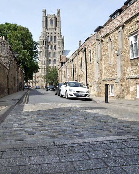 Cobbled speed bumps in Ely .