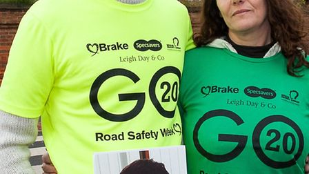 Steve Green and Tina Butcher (Jamie's mum_ when they joined road safety charity Brake to campaign in
