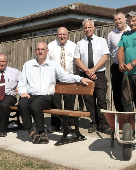 New benches unveiled at Spider park - Jasmine Close, Walsoken. Left: Cllr Alan Melton, Cllr Dave Pat