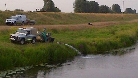Water aerating equipment has been installed in the River Delph .