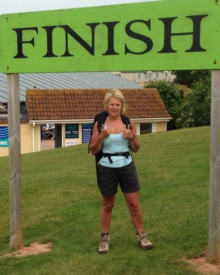 Katie Jolly at the finish line