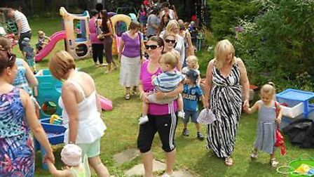 Children and their families gathered for the big toddle and teddy bear picnic