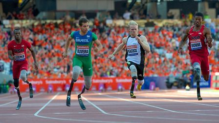 Jonnie Peacock in the T43/44 100m at the Sainsbury's Anniversary Games. Picture: PAUL SANWELL/OP PHO
