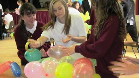 Students take part in one of the balloon tests.