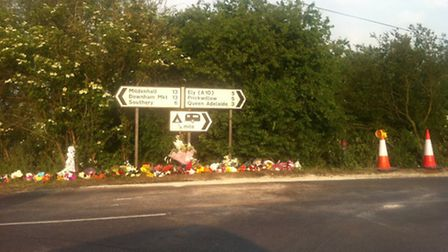 Floral tributes were left at the junction following the collision in June in which Jack Ure lost his