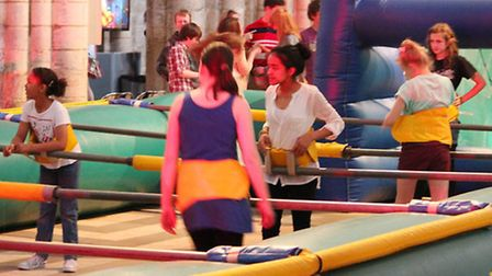 A giant inflatable table football game was very popular at Rave in the Nave