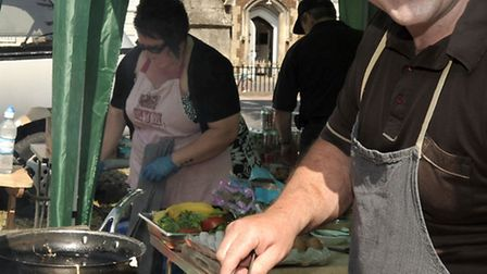 Bacon buttie festival, St Peter's Church, March. Paul Roberts cooks up the bacon.