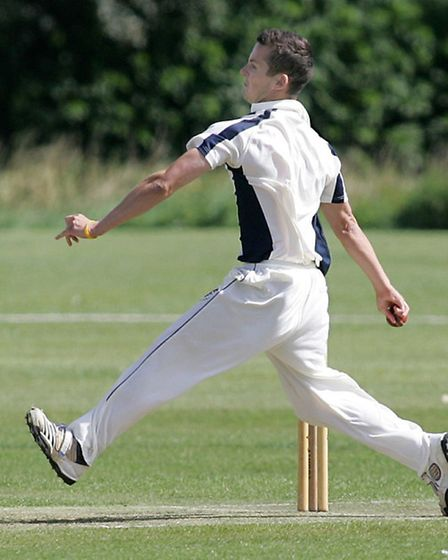 Wisbech cricket v Cambden cc. James Williams bowling for Wisbech.Picture: Steve Williams.