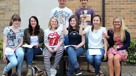 Wisbech Grammar School pupils celebrate their results with a specially baked cakes.