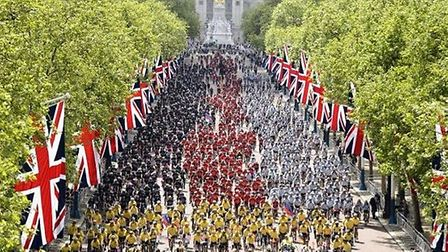 The cyclists arrive at Horse Guards Parade at the end of the Paris to London Big Battlefield Ride.