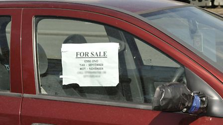 Second hand cars, caravans and vans for sale by side of road on the A1101 Elm Road Wisbech.