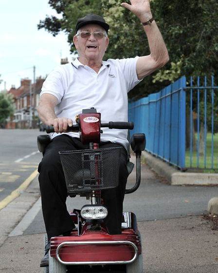 Gordon England on his new mobility scooter.