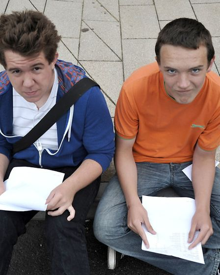 A level results at Thomas Clarkson Wisbech. Andrew and Keiron.