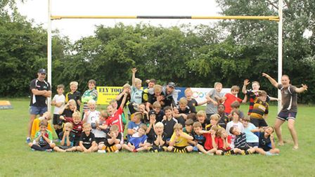 The kids and coaches at the rugby summer camp