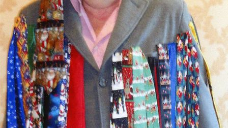 David McCullagh wore a coat carrying more than 80 ties to his leaving party.
