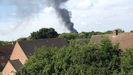 The blaze in Takeley as captured by Josh Sell on Twitter.