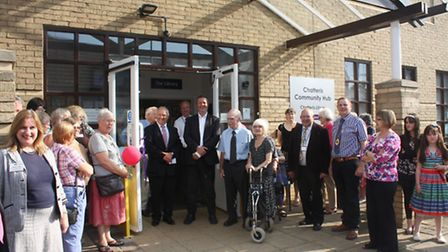 Cllrs Alan Melton and Martin Curtis with colleagues, guests and crowds at the launch.