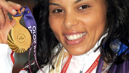 Louise Hazel with her Commonwealth Gold Medal