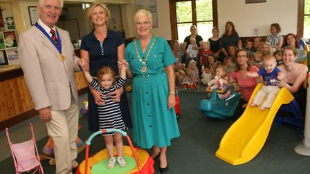 Mayor and mayoress, Phil and June Milne, with Mel Sims at the NCT Dunmow & Braintrees new home at th